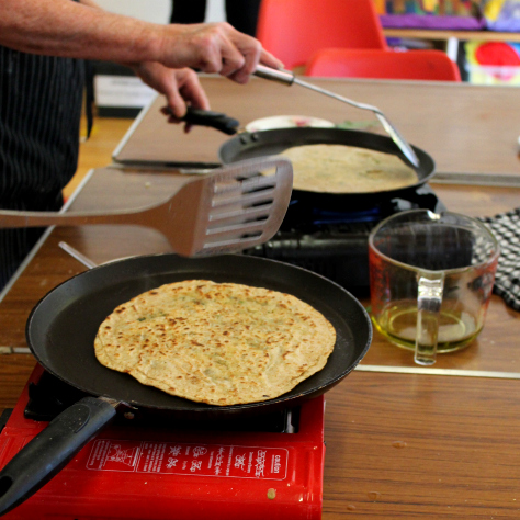Some delicious chapattis being prepared