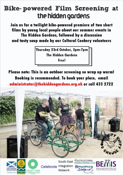 Flyer for our twilight bike-powered film screening