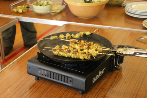 Delicious Chicken Kebabs! Our Blog Administrator is upset she does not work when the Men's Cooking Group are in...