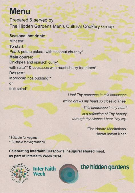 The menu from the shared meal on Wednesday 26th November