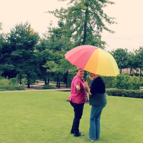 Amanda and Andrea modelling the new umbrellas!
